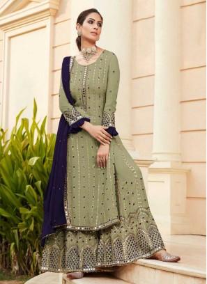 Green Color Embroidered Sharara
