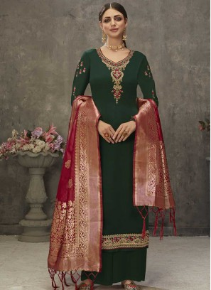 Green Color Embroidered Suits