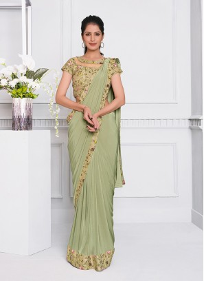 Green Color Floral Design Saree