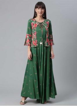 Green Color Floral Print Kurti