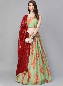 Green Color Floral Print Lehenga Choli