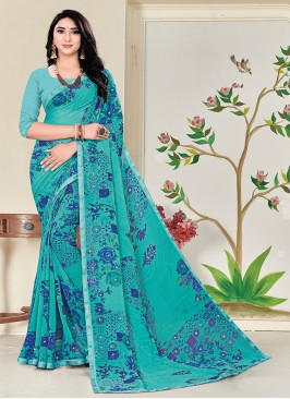 Green Color Floral Print Saree