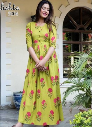 Green Color Flower Print Gown