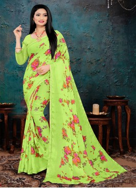 Green Color Flower Print Saree