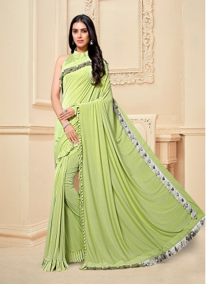Green Color Frill Fancy Fabric Saree