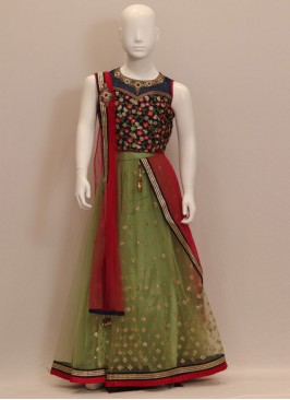 Green Color Function Wear Embroidered Chaniya Choli
