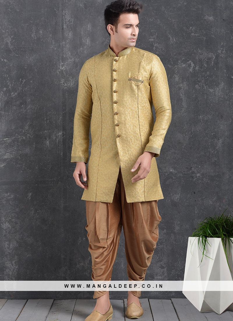 Green Color Function Wear Indo Western Kurta Pajama