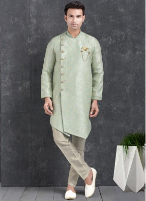 Green Color Function Wear Indo Western Kurta Pajama