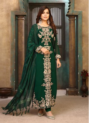 Green Color Georette Embroidered Pakistani Suit