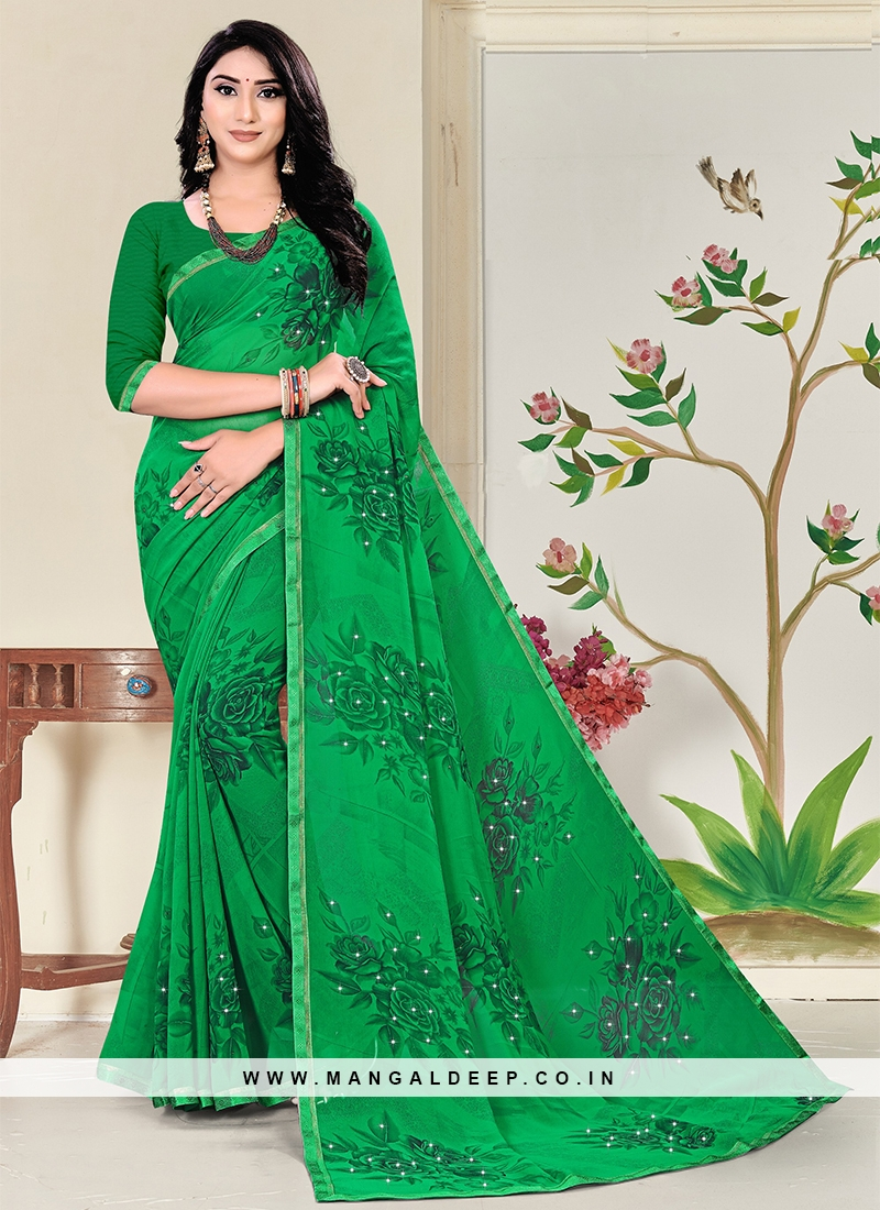 Green Color Georgette Casual Saree