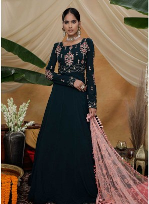 Green Color Georgette Design Long Gown