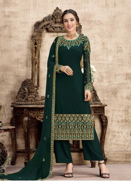 Green Color Georgette Embroidered Suit