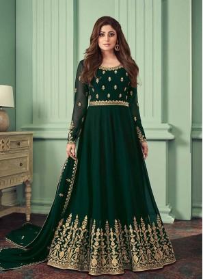 Green Color Georgette Long Anarkali Suit