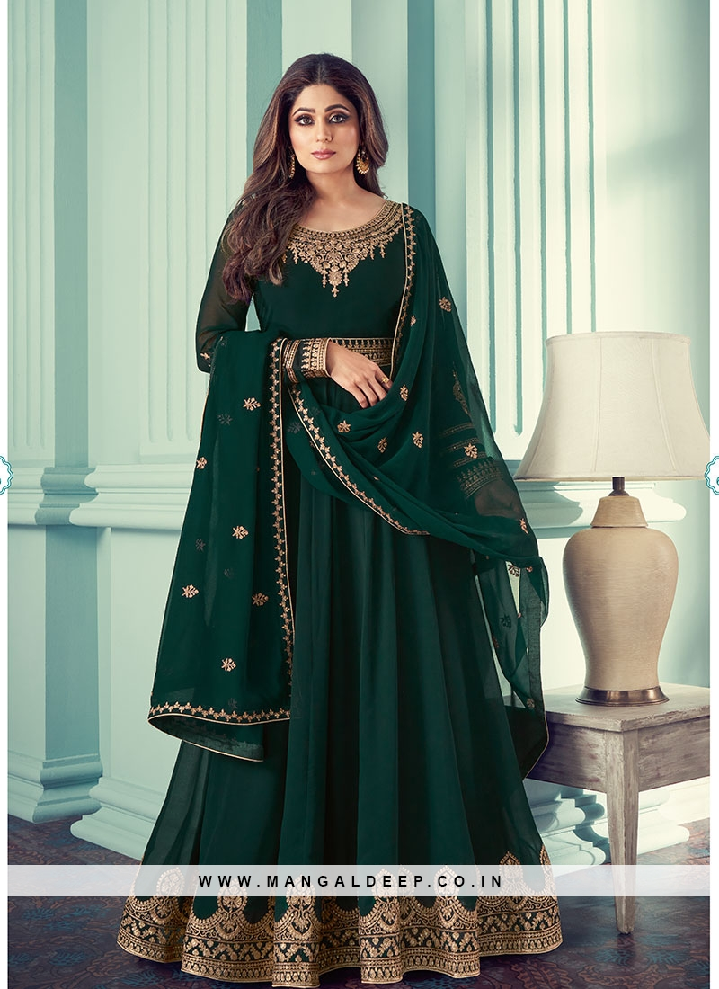 Green Color Georgette Party Wear Suit By Shamita Shetty
