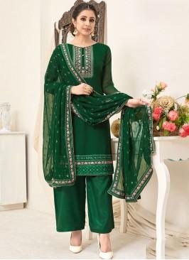 Green Color Georgette Plazzo Suit