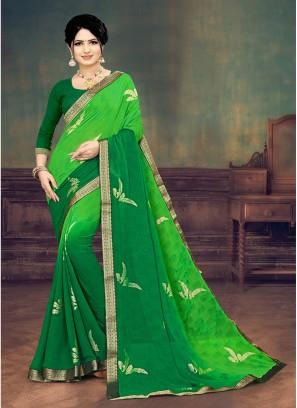 Green Color Georgette Printed Saree