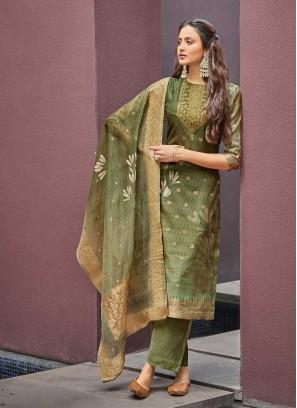 Green Color Girls wear Salwar Suit