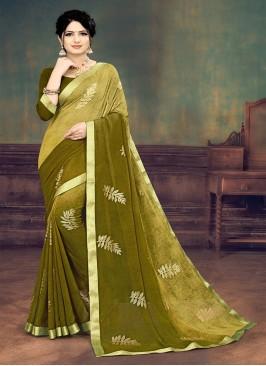 Green Color Half And Half Printed Saree