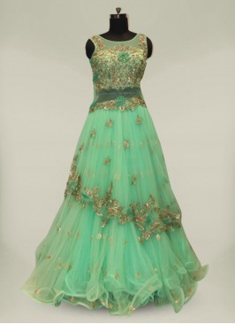 Green Color Hand Work Net Engagement Dresses For Bride