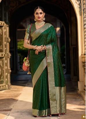 Green Color Jacquard Silk Dazzling Saree