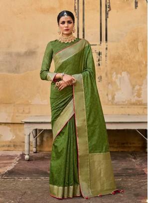 Green Color Jacquard Silk Saree