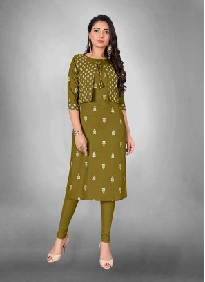 Green Color Kurti With Jacket
