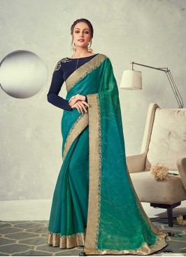 Green Color Lace Border Silk Saree