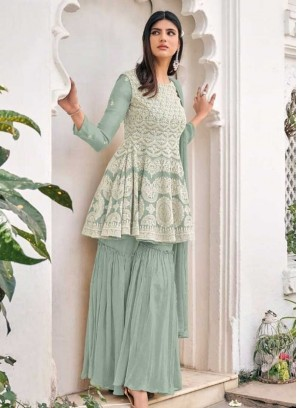 Green Color Latest Sharara For Girls
