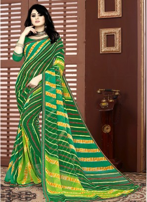 Green Color Leheriya Printed Saree