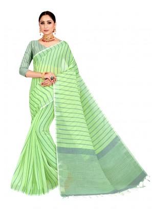 Green Color Linen Elegant Saree
