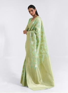 Green Color Linen Stylish Saree