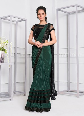 Green Color Lyrca Fanciful Saree
