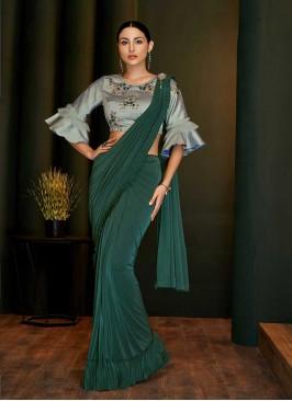 Green Color Lyrca Frill Saree