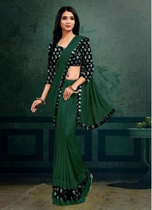 Green Color Lyrca Hot Saree