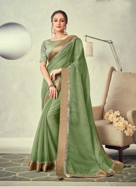 Green Color Mirror Work Saree
