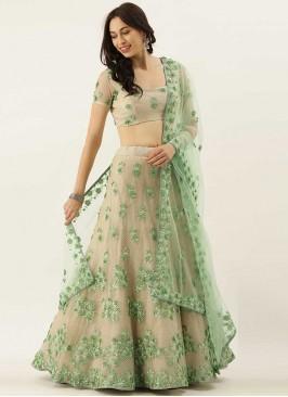 Green Color Moti Work Net Lehenga