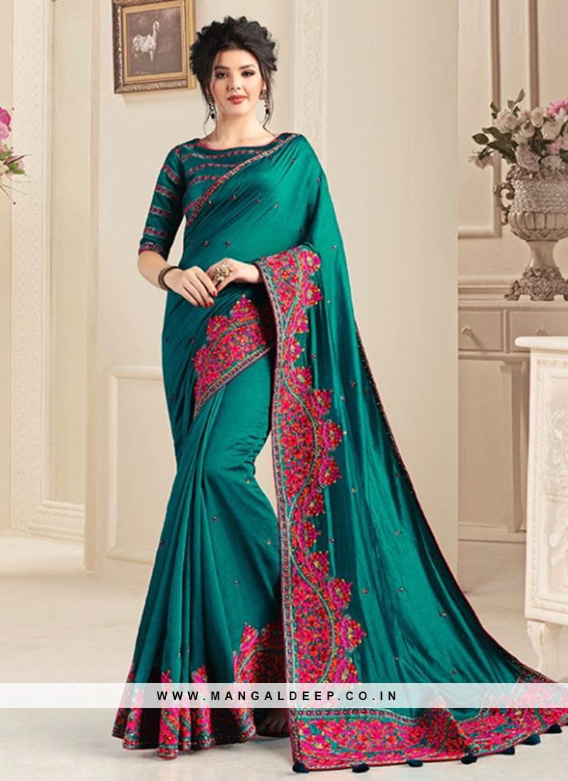 Green Color Natural Fabric Floral Work Saree