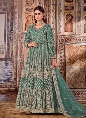 Green Color Net Anarkali Suits
