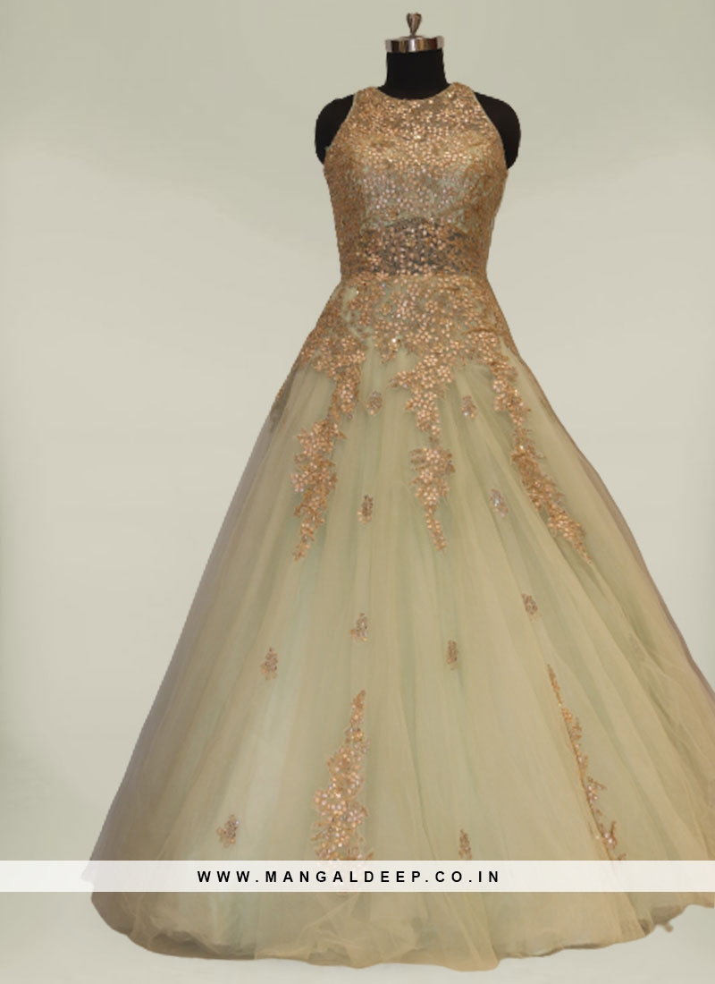 Green Color Net Bridal Party Dresses