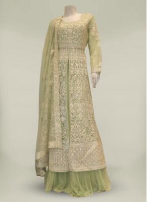 Green Color Net Diamond Work Designer Suit