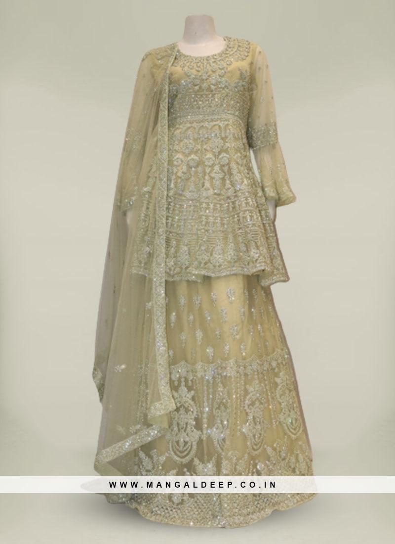 Green Color Net Diamond Work Fancy Sharara Dress