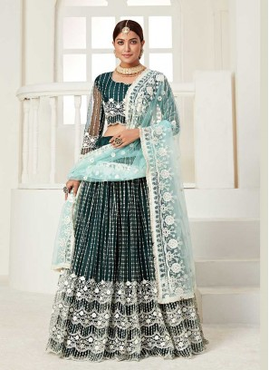 Green Color Net Embroidered Latest Lehenga