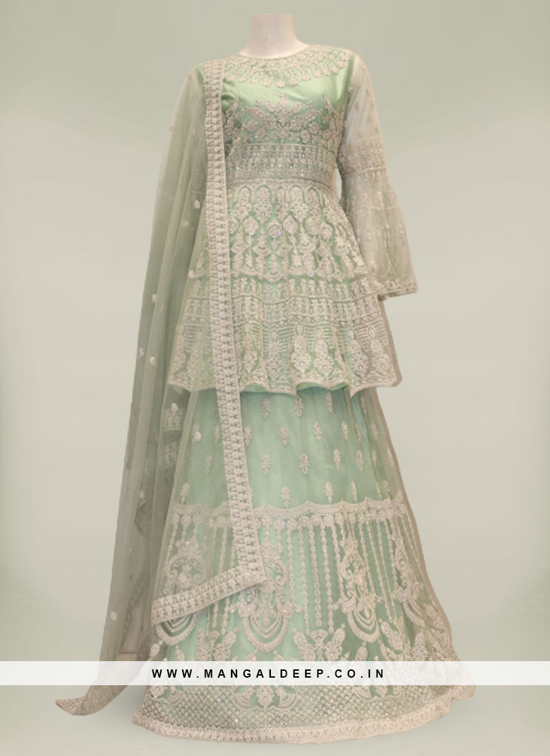 Green Color Net Latest Design Gharara Dress