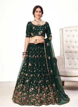 Green Color Net Mehndi Wear Lehenga