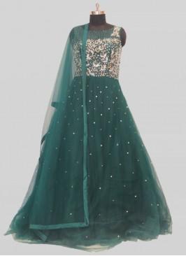 Green Color Net Mirror Work Ladies Gown