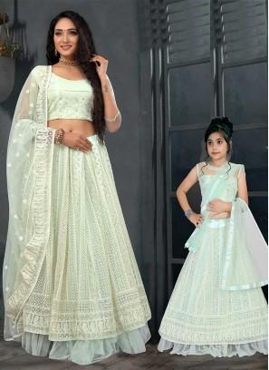 Green Color Net Mother Daughter Lehenga