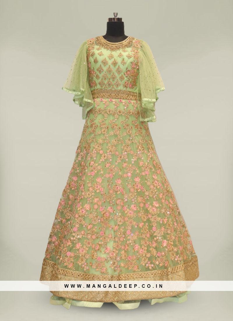 Green Color Net Resham Work Anarkali Gown