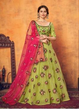 Green Color Net Wedding Wear Lehenga