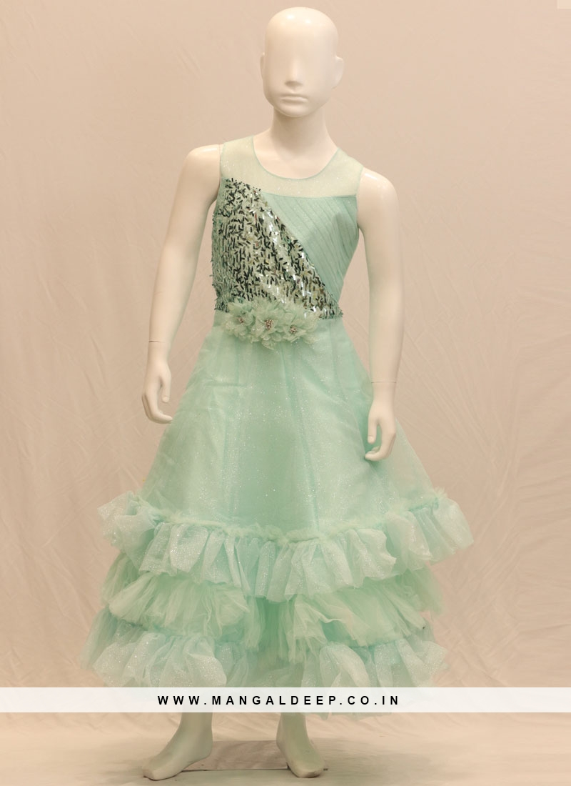 Green Color Party Wear Designer Gown
