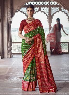 Green Color Patola Silk Designer Sarees For Wedding